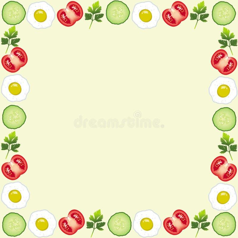 Marco Hermoso Con Los Tomates, Huevo, Pepino, Hoja Ilustración del ...