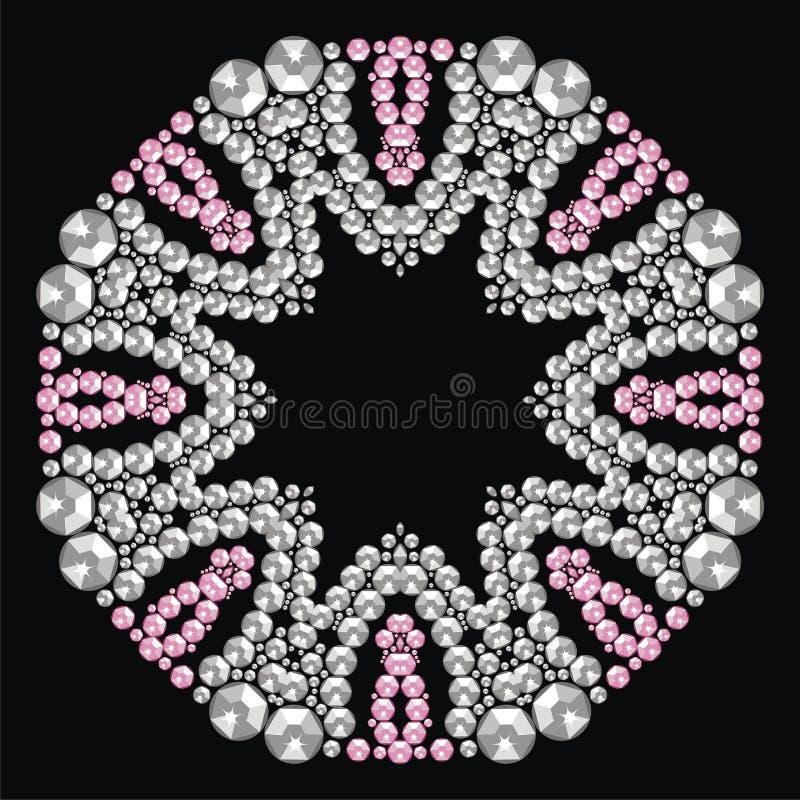 Marco hermoso de la joyería, medallón, broche, decoración en el cuello, mandala Cristal del copo de nieve de la Navidad muy Model stock de ilustración