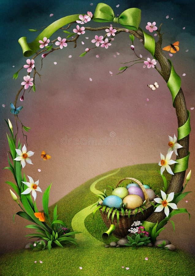 Marco hermoso de la primavera con las flores y los huevos de Pascua. stock de ilustración