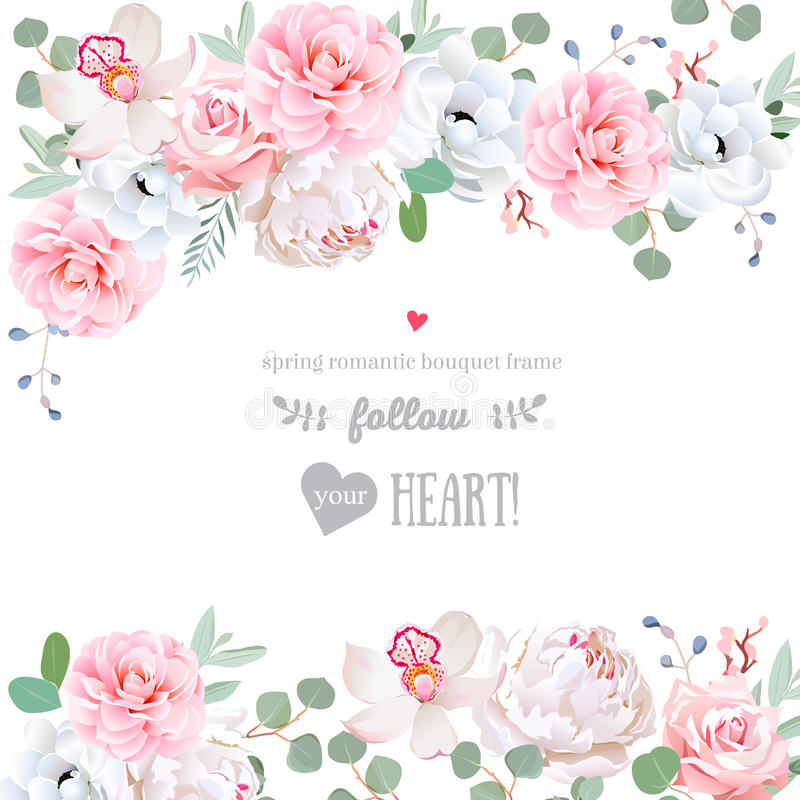 Marco hermoso del diseño del vector de la boda con las flores ilustración del vector