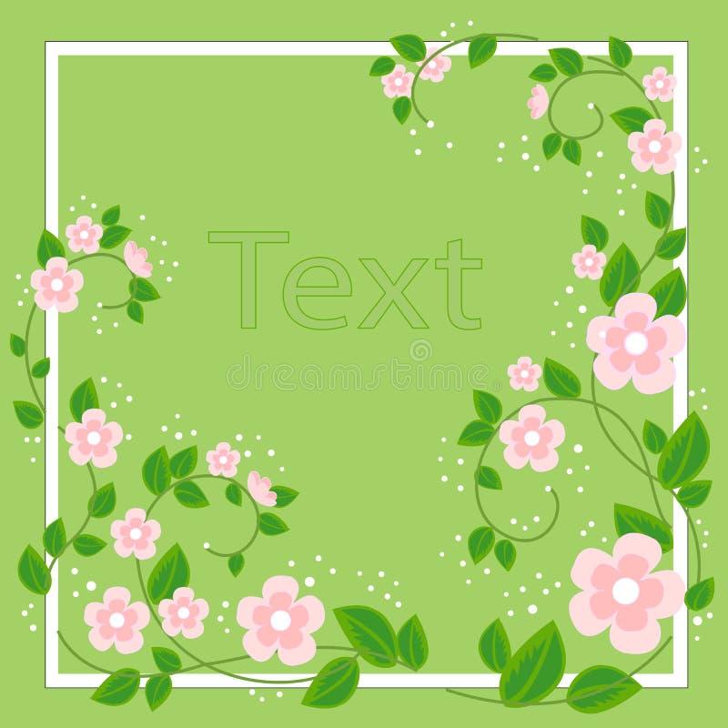 Marco hermoso para la fotografía y el texto Flores delicadas del palo de rosa Fondo del resorte Ilustraci?n del vector libre illustration