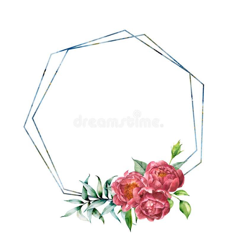 Marco hexagonal de la acuarela con el ramo de la peonía Etiqueta floral moderna exhausta de la mano con las hojas y las ramas, pe ilustración del vector