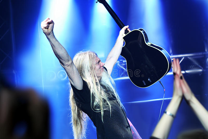 Marco Hietala from Nightwish. During an accoustic concert on the baltic princess on the 10th june 2015 royalty free stock images