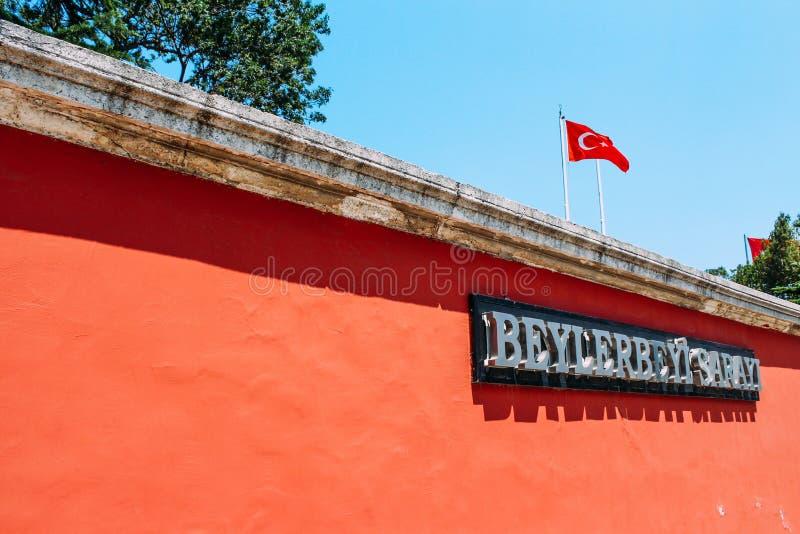 Marco histórico do palácio de Beylerbeyi em Istambul, Turquia fotografia de stock