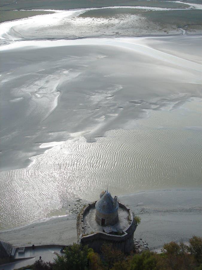 Marco histórico na praia fotografia de stock