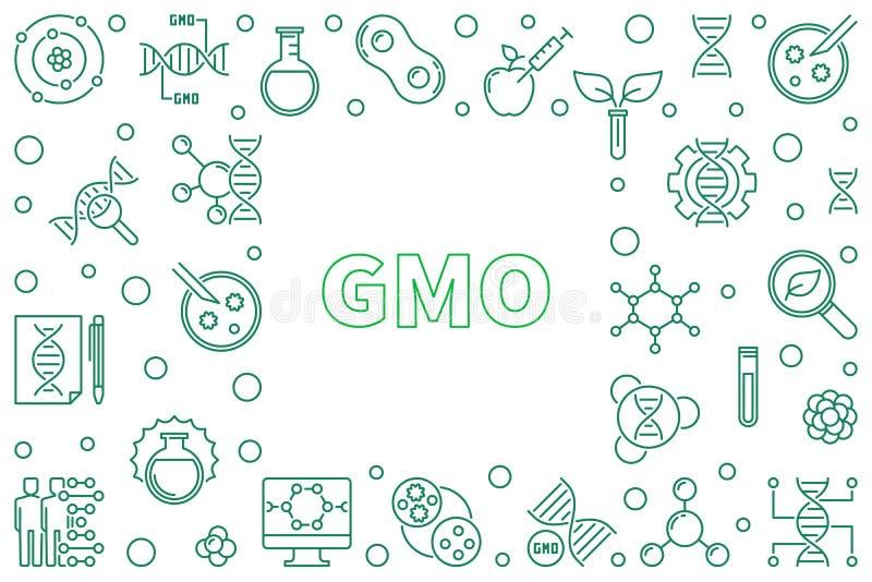 Marco horizontal del concepto de GMO - ejemplo del esquema del vector stock de ilustración