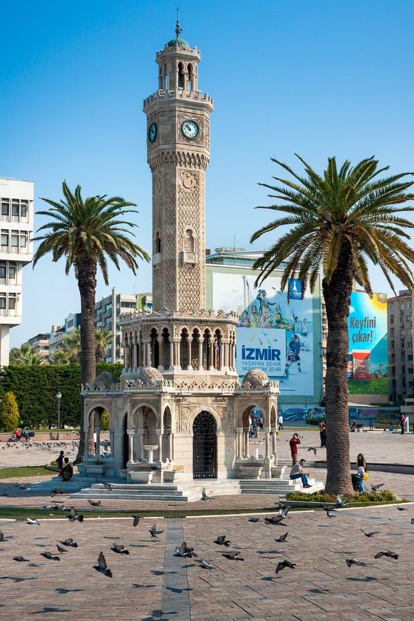 Marco icônico da torre de pulso de disparo de Izmir fotos de stock royalty free