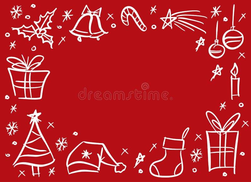 Marco incompleto del garabato de la Navidad ilustración del vector