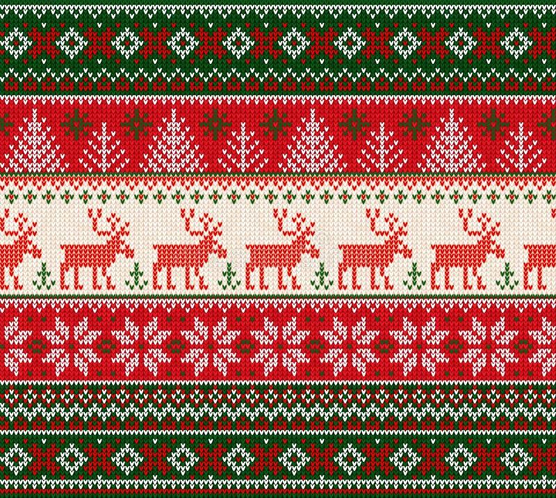 Marco inconsútil feo del modelo de la Feliz Año Nuevo de la Feliz Navidad del suéter stock de ilustración