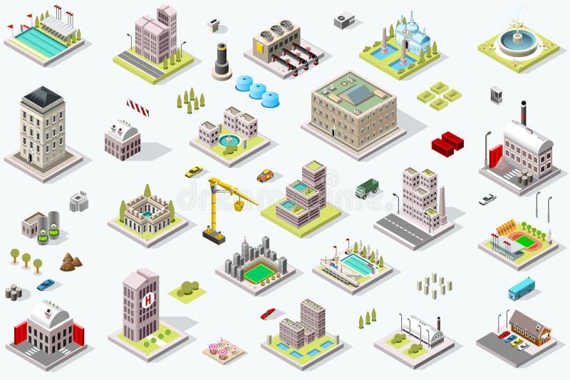 Marco isométrico dos ícones da construção da cidade ilustração do vetor