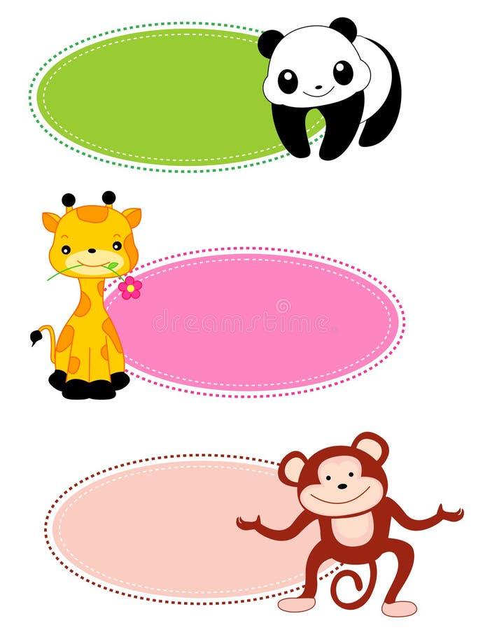 Marco/lable animales stock de ilustración