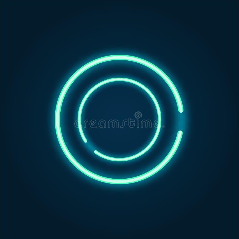 Marco ligero brillante azul brillante del diseño del fondo del círculo de neón para el ejemplo del vector de la presentación stock de ilustración