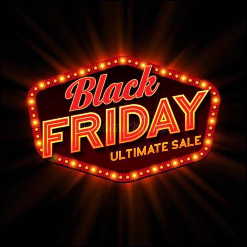 Marco ligero retro de Black Friday Vector stock de ilustración