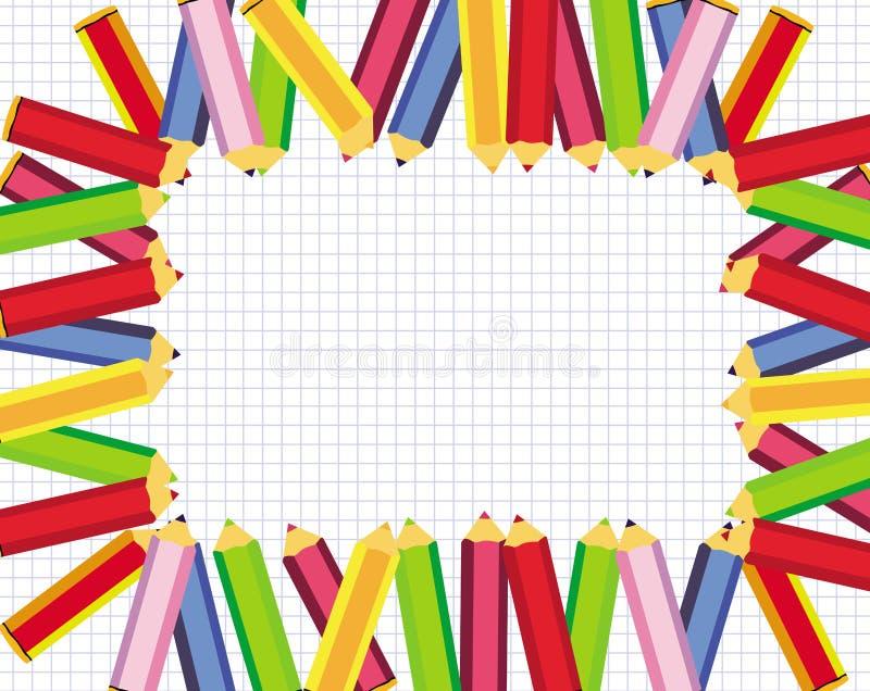 Marco lindo con los lápices coloreados para la escuela ilustración del vector