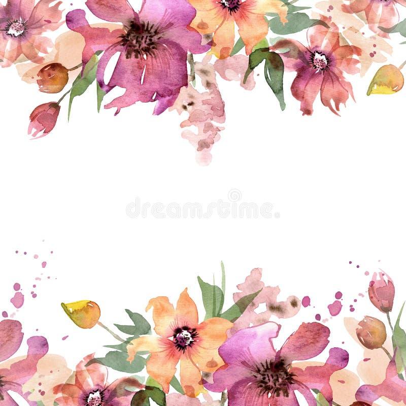 Marco lindo de la flor de la acuarela Fondo floral pintado a mano invitación Invitación de boda Tarjeta de cumpleaños ilustración del vector