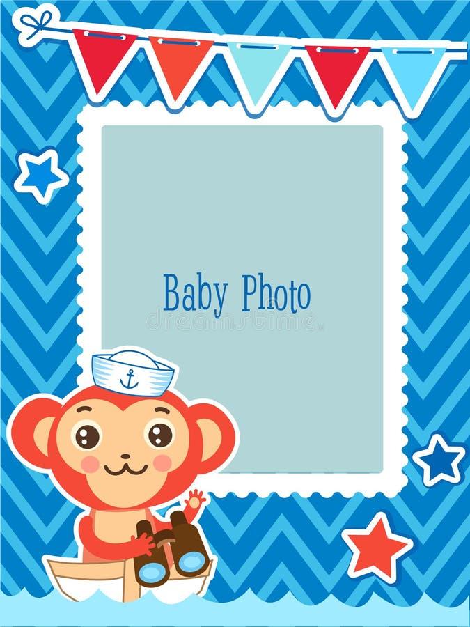 Marco lindo de la foto del vector de los niños Ejemplo del vector del mono de la historieta Plantilla decorativa de la historieta ilustración del vector