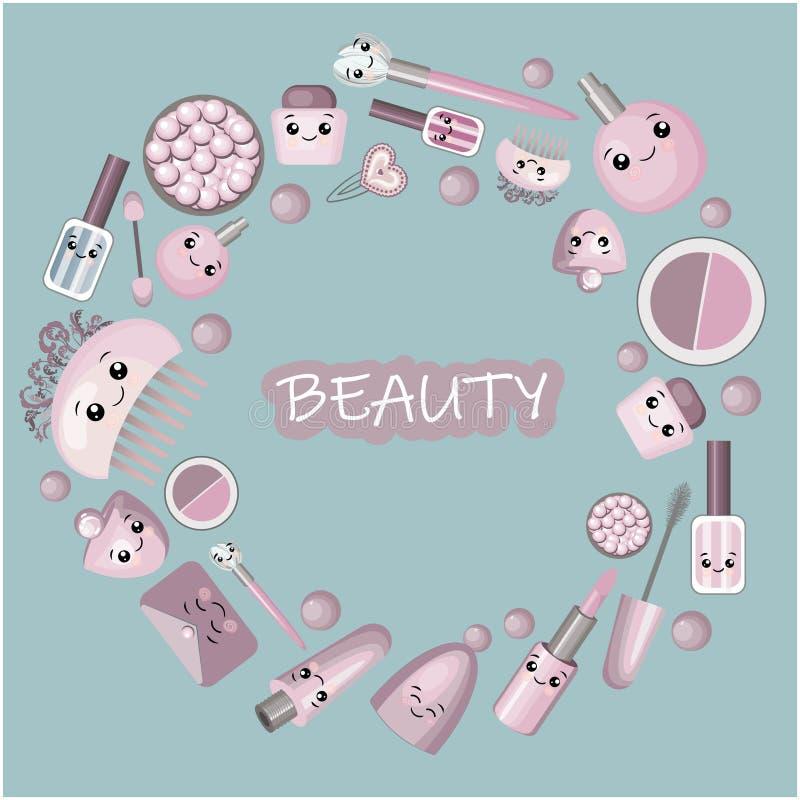 Marco lindo de la historieta con la niña y los cosméticos, cosas de la moda - barra de labios, cristal rosado, rimel, espejo, bol ilustración del vector