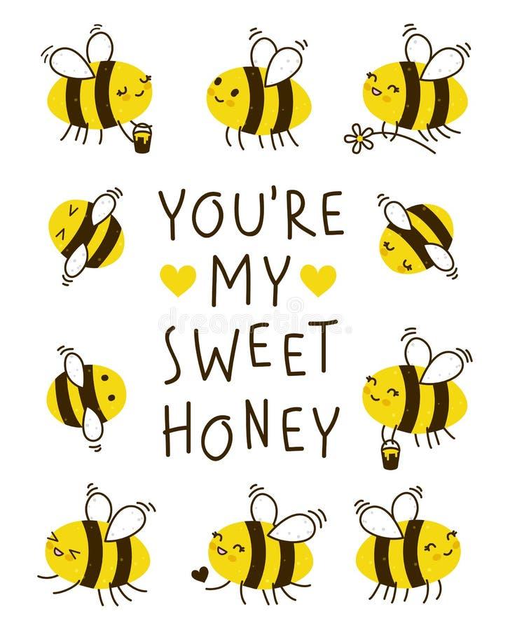 Marco lindo de las abejas de la miel para su diseño libre illustration