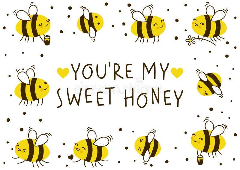 Marco lindo de las abejas de la miel para su diseño ilustración del vector