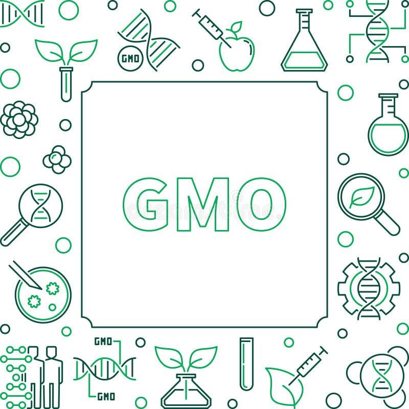 Marco linear del concepto simple del cuadrado de GMO Ilustraci?n del vector libre illustration