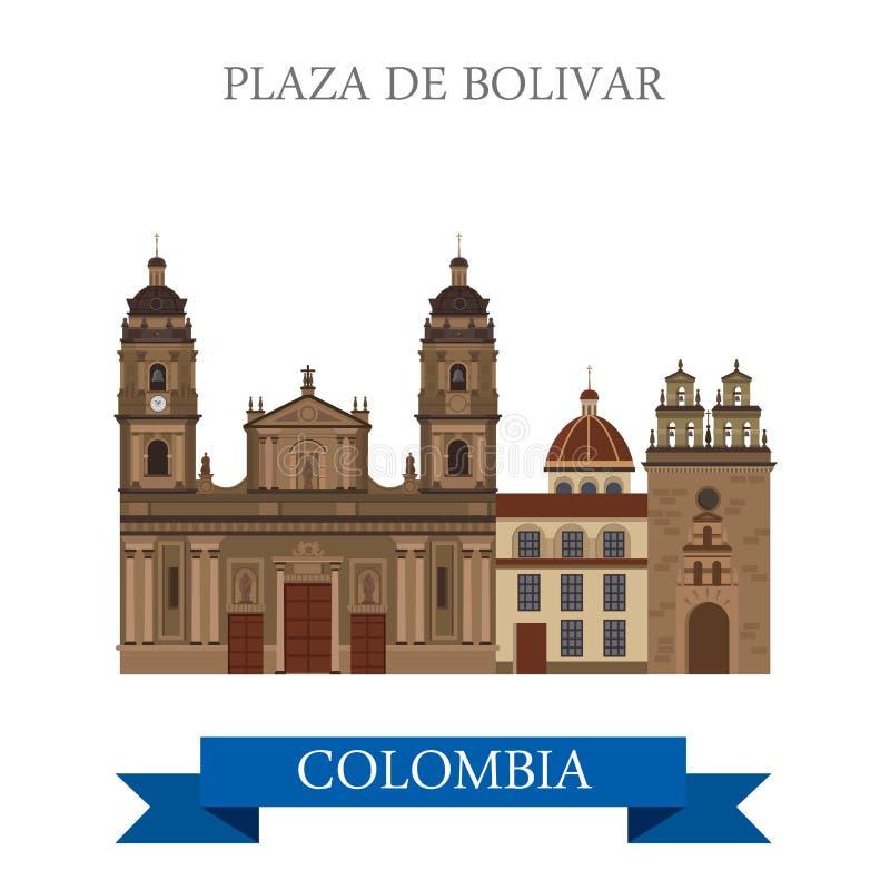 Marco liso da atração do vetor de Plaza de Bolivar Bogotá Colômbia ilustração royalty free