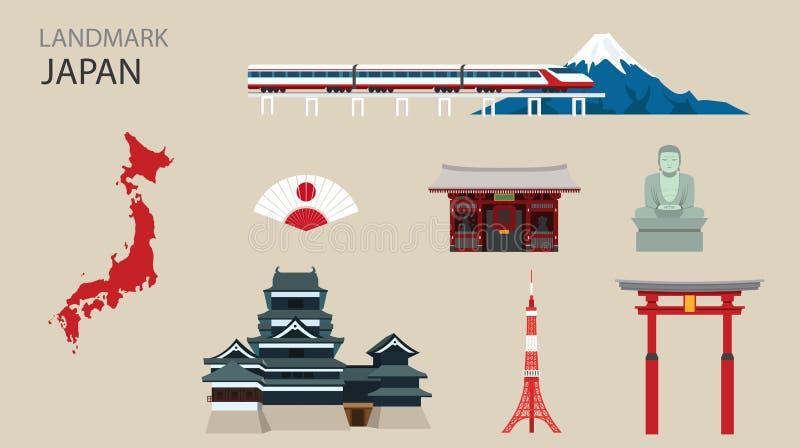 Marco liso Japão do projeto dos ícones ilustração do vetor