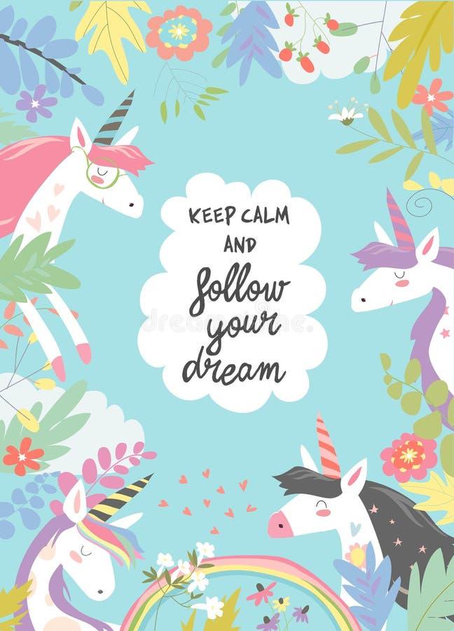 Marco mágico lindo integrado por unicornios y flores libre illustration