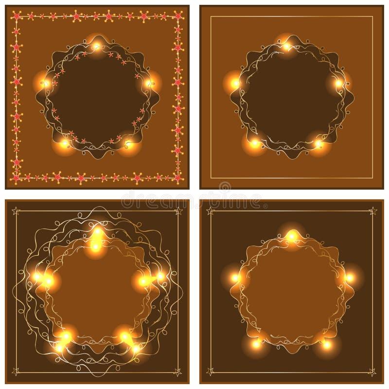 Marco marrón anaranjado del oro de la estrella stock de ilustración
