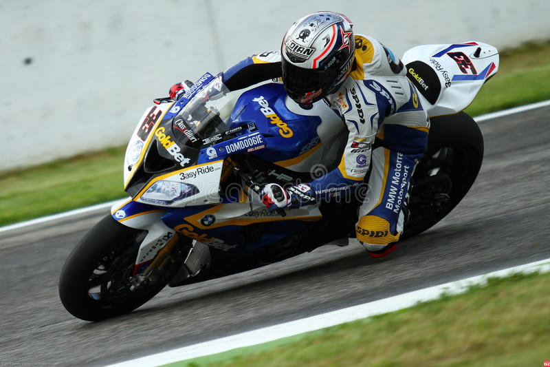 Marco Melandri #33 on BMW S1000 RR with BMW Motorrad GoldBet SBK Team Superbike WSBK. Marco Melandri #33 riding BMW S1000 RR with BMW Motorrad GoldBet SBK Team stock photography