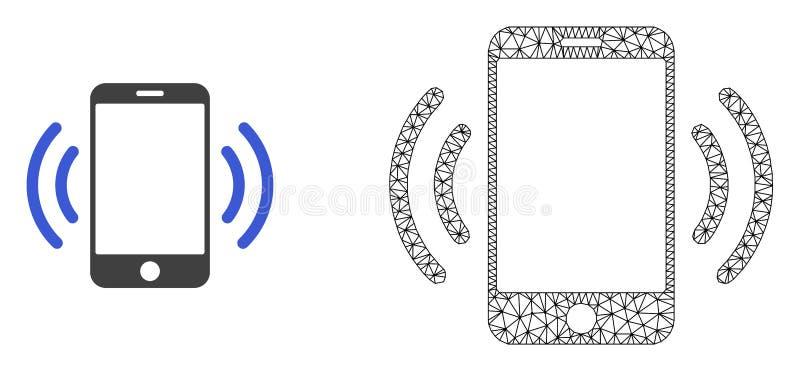 Marco Mesh Cellphone Vibration del alambre del vector e icono plano libre illustration