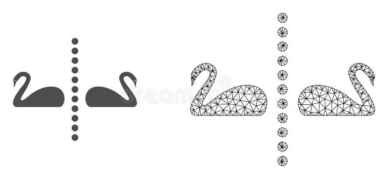 Marco Mesh Separate Swans del alambre del vector e icono plano stock de ilustración