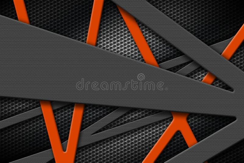 Marco metálico gris y anaranjado en fondo negro de la parrilla stock de ilustración