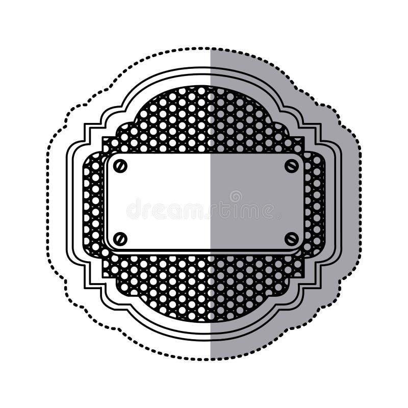 marco metálico heráldico de la silueta de la etiqueta engomada con la parrilla perforada y placa con los tornillos stock de ilustración