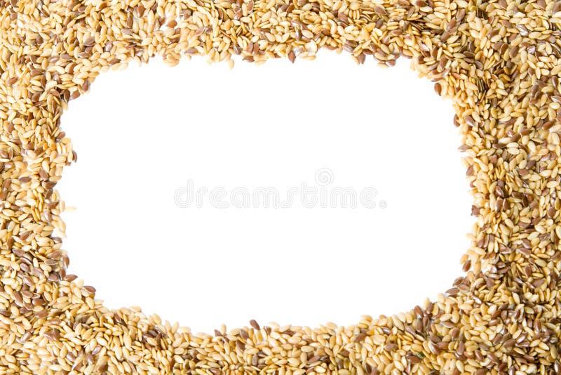 Marco mezclado de la linaza de las semillas imagenes de archivo