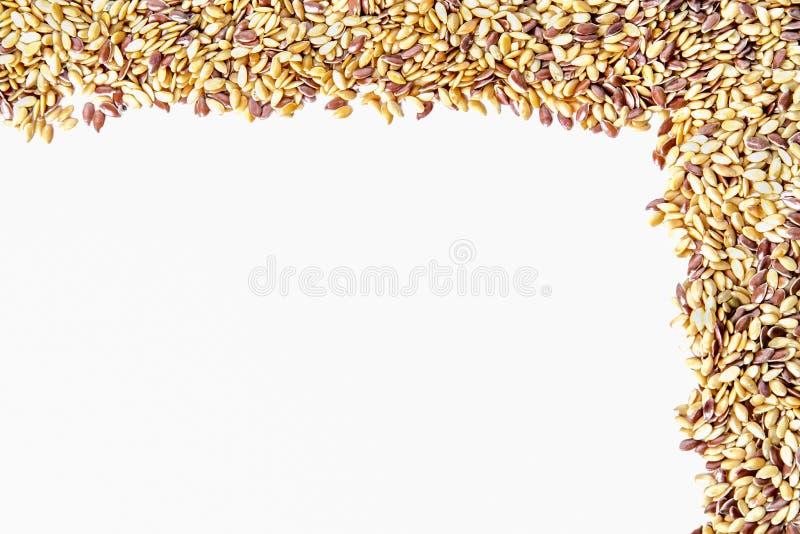 Marco mezclado de la linaza de las semillas fotos de archivo