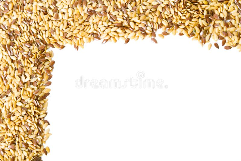 Marco mezclado de la linaza de las semillas imágenes de archivo libres de regalías