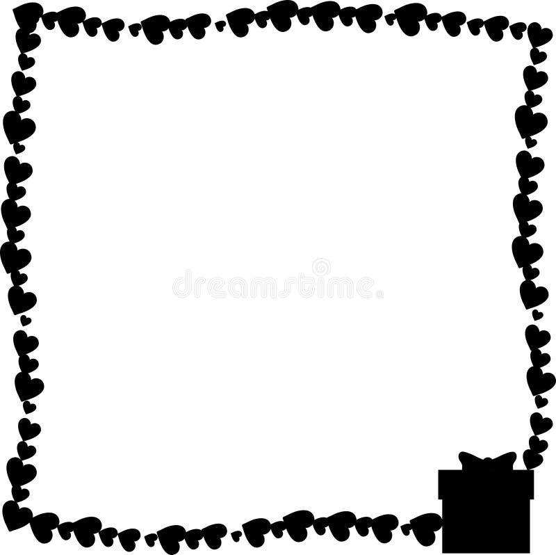 Marco monocromático de la foto del vintage del vector hecho de corazones con la silueta de la caja de regalo en esquina ilustración del vector