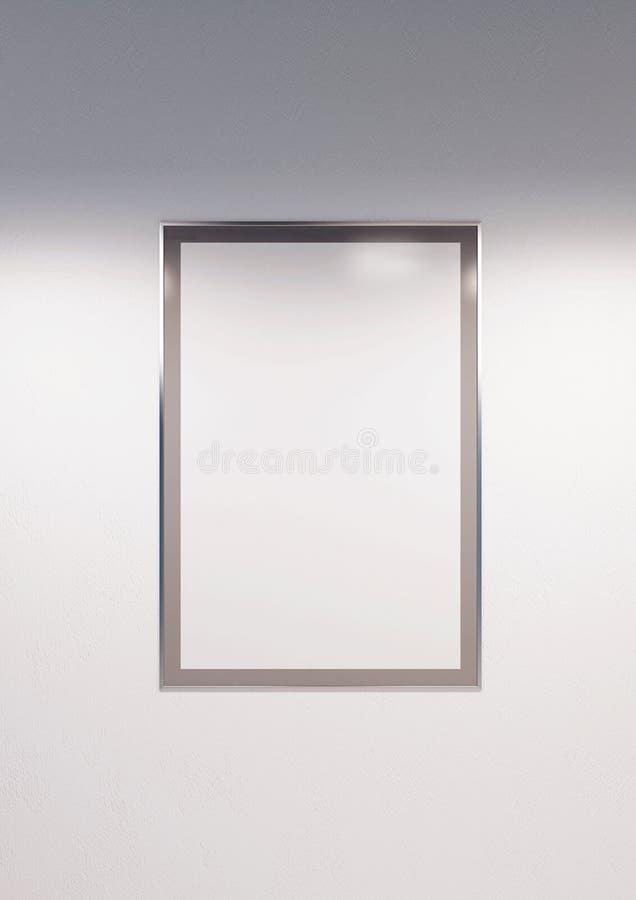 Marco monocrom?tico llenado del cartel de la maqueta del Libro Blanco en la pared blanca libre illustration