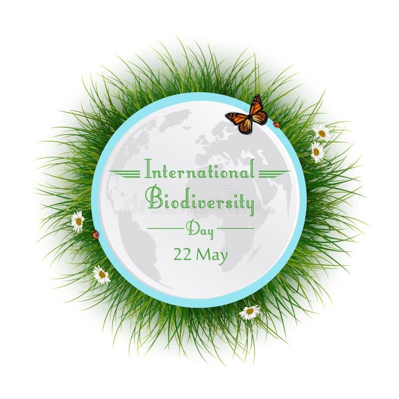 Marco natural con el círculo de la hierba para el día internacional de la biodiversidad ilustración del vector