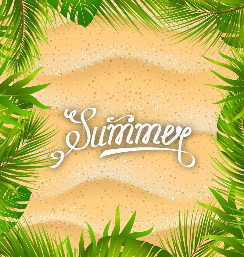 Marco natural con Sandy Texture y las plantas exóticas de las hojas libre illustration
