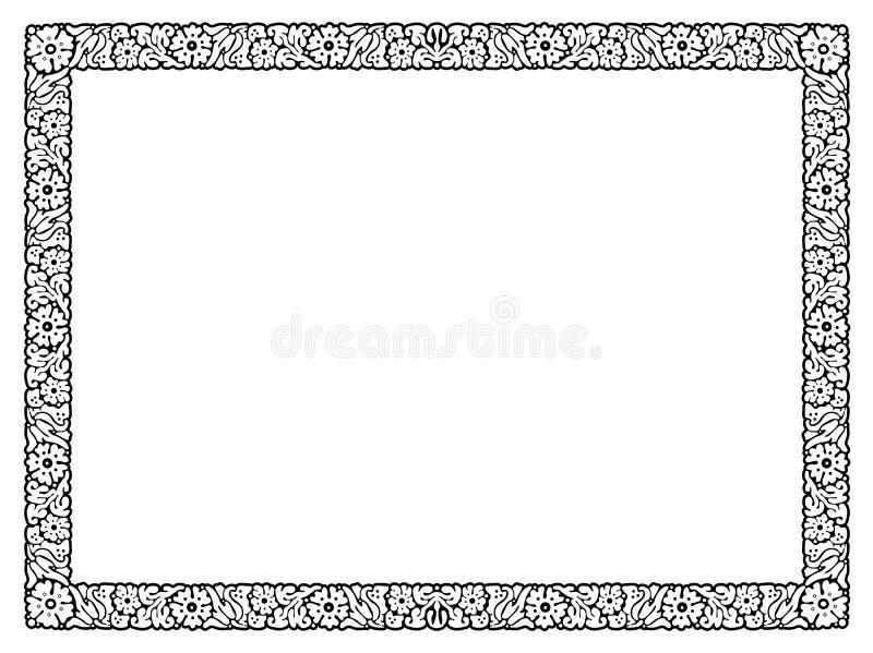 Marco negro abstracto de la flor aislado ilustración del vector