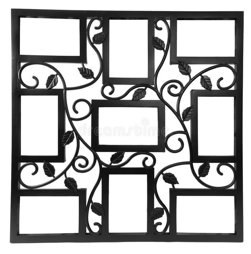 Marco negro antiguo de la foto con los elementos del ornamento forjado floral Fije 9 nueve marcos Aislado en el fondo blanco imagenes de archivo