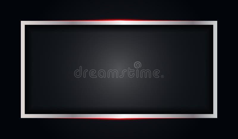 Marco negro del color brillante rojo metálico del extracto con el fondo moderno de la plantilla del vector del diseño de la tecno stock de ilustración