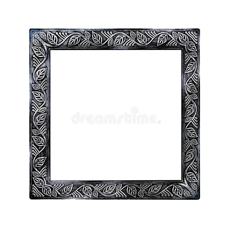Marco negro del metal con las hojas inconsútiles que tallan los modelos aislados en el fondo blanco con la trayectoria de recorte fotos de archivo libres de regalías