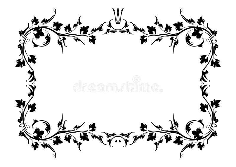 Marco negro del vintage con la corona y con el espacio en blanco para el texto Tarjeta o invitación retra de felicitación del vin ilustración del vector