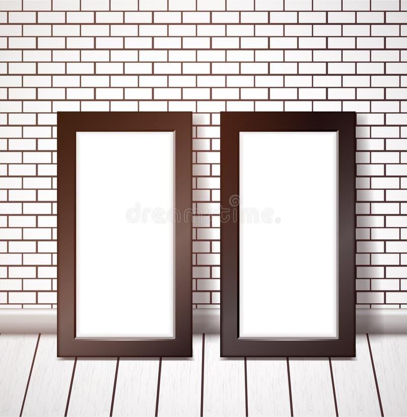 Marco negro dos en la pared de ladrillo blanca stock de ilustración