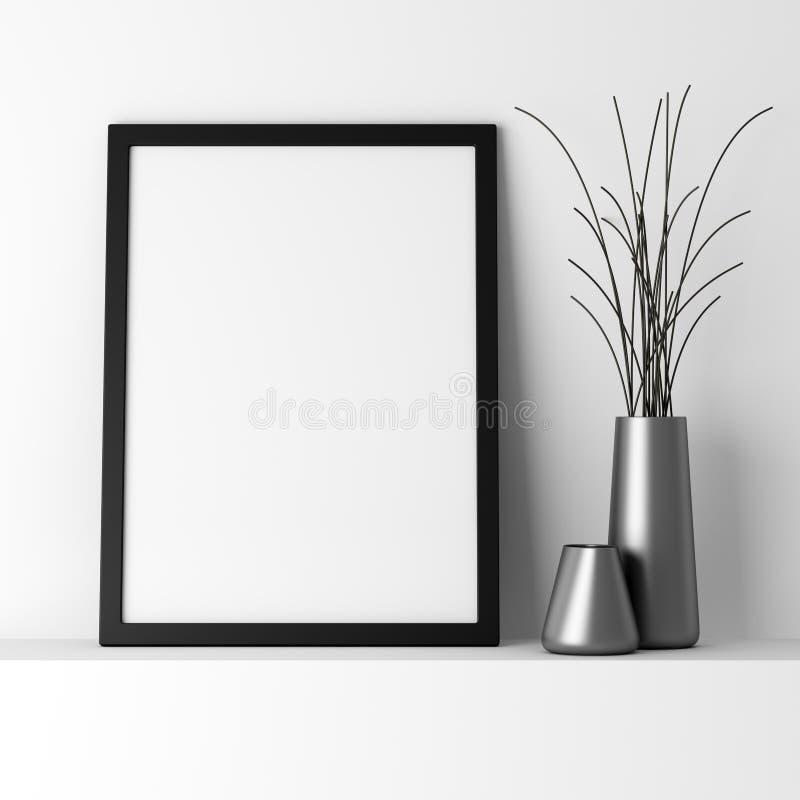 Marco negro en blanco de la foto en el estante blanco stock de ilustración