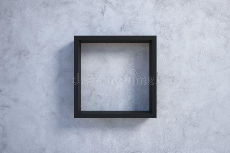 Marco negro en el muro de cemento ilustración del vector