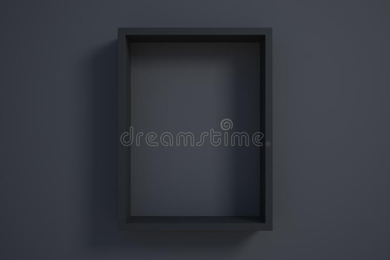 Marco negro en la pared negra stock de ilustración