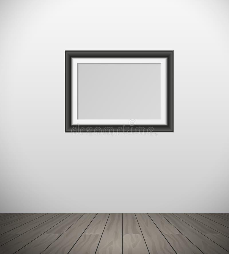 Marco negro realista del vector para su imagen que cuelga en la pared en sitio con el piso de entarimado ilustración del vector